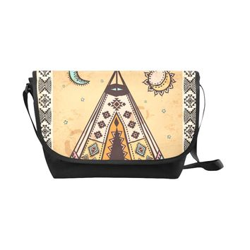 Native American Black Nylon Cross Body Bag