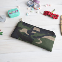 Camouflage pencil case, Pencil Pouch, Cosmetic small pouch, Make Up Pouch, Charger bag, Small bag, Bridesmaid gift, Bridal purse
