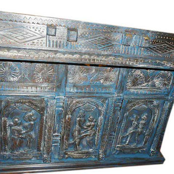 Antique Sideboard Bar kamasutra Carved Blue patina damchi indian Chest rustic india furniture
