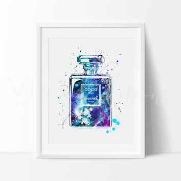 Coco Chanel Perfume Bottle Watercolor Art Print