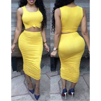 Sexy solid color two-piece dress