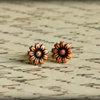 Copper Sunflower Earring Posts by saffronandsaege on Etsy