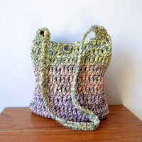 Gray and Pastel Crochet Hobo Bag, Sling Bag, Yellow, Orange, Pink, Hippie Purse, Crossbody Bag