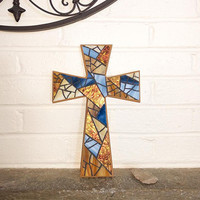 Stained Glass Mosaic Wall Cross, Blue Amber Unique Crucifix, Nautical Wall Decor, Handmade Blue Mosaic Wall Cross, Baptism Wall Cross