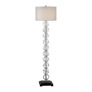 Italo Contemporary Polished Nickel Stacked Sphere Floor Lamp by Uttermost