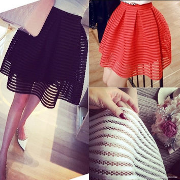 sexy skirt womens high waist striped hollow-out fluffy skirts ladies maxi midi-long tutu skirt saias-N6 = 1946592964