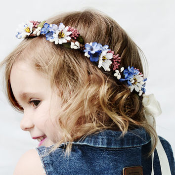 Daisy Flower Girl Hair Wreath - Blue and White Flower Crown, Daisy Crown, Wildflower Crown, Daisy Hair Wreath, Country Wedding, Wildflowers