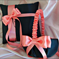 Wedding Ring Pillow and Flower Girl Basket, Black and Coral / Salmon Wedding Accessories