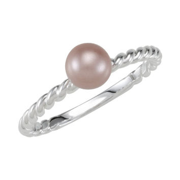 Sterling Silver Rope Ring for Pearl