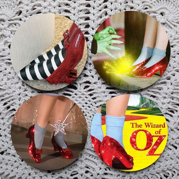 Nice Shoes, Dorothy -- Wizard of Oz Themed Mousepad Coaster Set