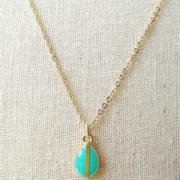 Tiny Teardrop Necklace, Cerulean Green Teardrop Necklace, Green Resin Teardrop Necklace, Retro Teardrop Gold Necklace, Resin Jewelry For Her