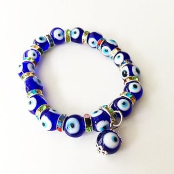 FREE SHIPPING - Evil eye charm bracelet, glass evil eye bracelet, evil eye bangle bracelet, blue evil eye bracelet, turkish evil eye beads