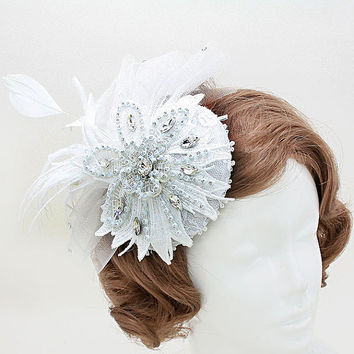 The Great Gatsby Inspired Fishnet Flower Wedding Clip Kentucky Derby Fascinator, Church Hat, Del Mar Races, Bridal Hat
