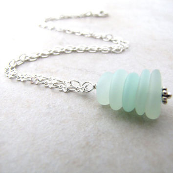 Sea Glass Seaglass Necklace Aqua Cairn Stacked Stones BellinaCreations Bellina Creations