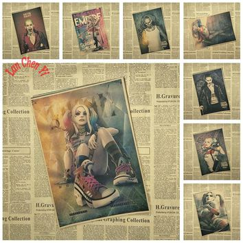 Classic Movie Kraft Paper Poster Suicide Squad Series 1 Bar Cafe Vintage High quality Printing Drawing core Decorative Painting