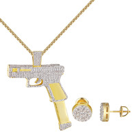 14k Gold Finish Gun Pendant Iced Out Free 24 Inch Necklace Iced Out Free Chain