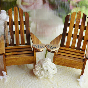 Wedding Cake Topper ~ Miniature Adirondack Chairs  ~ May be ordered with Starfish Bride and Groom ~ Cake Topper ~ Too Cute!