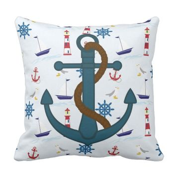 Anchor Lighthouse Nautical Throw Pillow