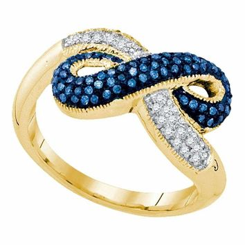 10kt Yellow Gold Women's Round Blue Color Enhanced Diamond Infinity Ring 1-3 Cttw - FREE Shipping (US/CAN)