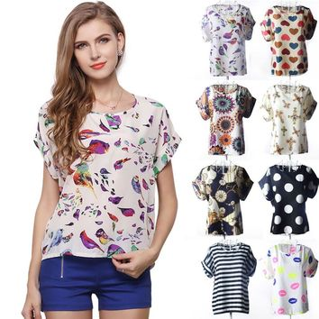 Women Ladies Casual Short Sleeve Blouse Summer Chiffon Loose T-shirt Tops Shirt