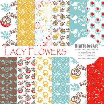 "Floral digital paper ""Lacy Flowers"" flower digital clip art papers in blue, red, yelow, patterns, download, floral background"
