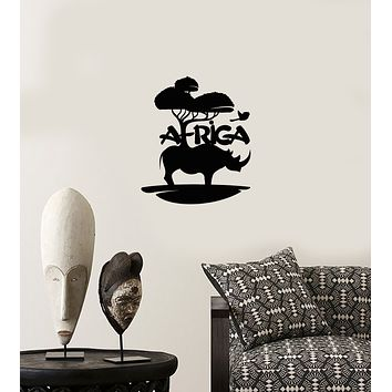 Vinyl Wall Decal Africa Logo Rhino Landscape Nature Stickers (3881ig)