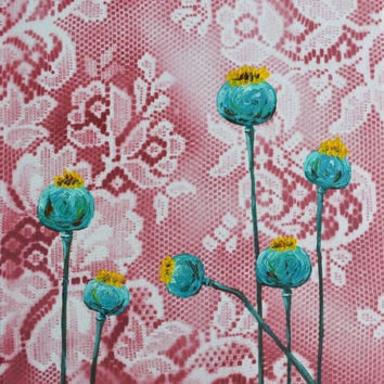 Bohemian Turquoise Poppy Pods on Red Maroon Lace Original Painting