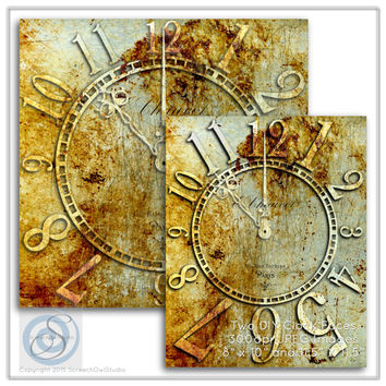DIY Clock, Rusty Metal Clock Face, Shabby Chic Clock, Craft Supplies, Paper Craft, Instant Download, Printable Images, Digital Clock Face