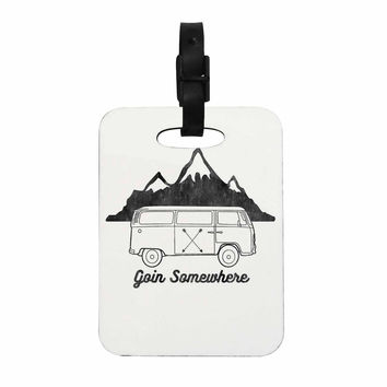 "Draper ""Going Somewhere A"" White Typography Decorative Luggage Tag"