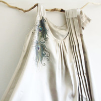 Hand Painted Silver Grey Sattin Dress Tunic OOAK Peacock Feather Design Special Occasion Dress size  8-10