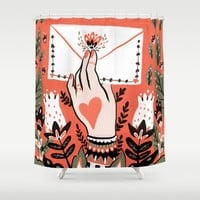 Love Letter Shower Curtain by Angela Rizza