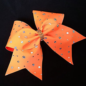 Cheer bow, neon orange cheer bow, sliver sequin cheer bow, cheerleader bow, cheerleading bow, dance bow, rec cheer bow softball bow