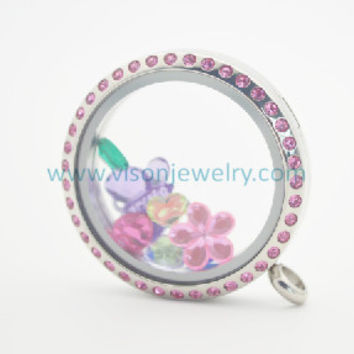 stainless steel pink crystal floating charms locket ,magnetic closure locket