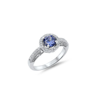 925 Sterling Silver CZ Classic Designer Halo Simulated Tanzanite Ring 10MM