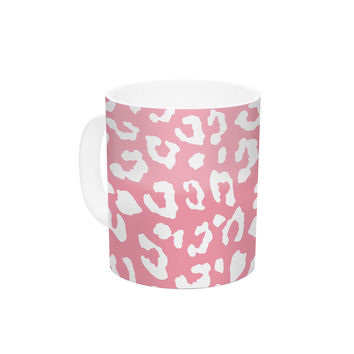 "Wildlife ""Pink Animal Print 1"" Rose White Ceramic Coffee Mug"
