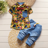 BibiCola fashion toddler children summer baby boys clothing sets  2pcs clothes sets boys gentleman set  kids sport suit sets