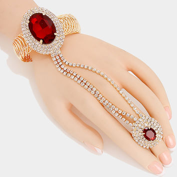 """ Ravishing "" Oval Medium Red Crystal Rhinestone Bracelet & Ring Combo On gold Tone"