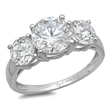 14K White Gold Round Cut Russian Lab Diamond Journey Three Stone Ring
