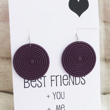Best Friends Gift Card Drop Wood Circle Vintage Jewelry Family and Friend Purple Round Gift Woman Fashion Earrings
