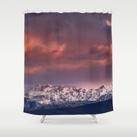 "Mysterious mountains"". Sunset at the mountains. Shower Curtain by Guido Montañés"