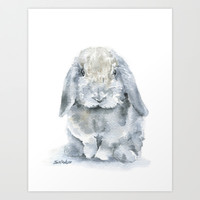 Mini Lop Gray Rabbit Watercolor Painting Art Print by Susan Windsor