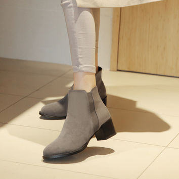 Flock Ankle Boots Women Shoes Fall|Winter 11191501