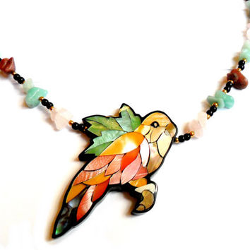 Vintage Lee Sands Parrot Necklace - Laminate Mother of Pearl Inlay - Focal Pendant - Parakeet Cockatiel Bird - Gem Stone Chip - Hawaiian