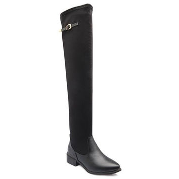 Over The Knee Equestrian Boots With Buckle Design