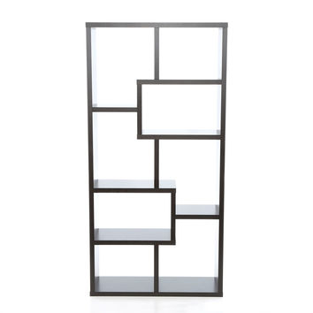 Modern 70.75 Inch High Display Cabinet Bookcase In Black Wood Finish