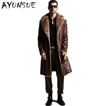 Winter Leather Jacket Men Faux Sheepskin Coats Lined Motorcycle Jackets Fleece Fur Collar Blouson Outfit Faux Genuin YYJ0009