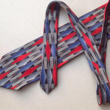 Men's Emilio Romano Necktie made of 100 % Silk Classic Design in Shades of Gray, Red,Royal Blue and Black