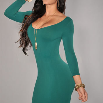 Green Long Sleeves Scoop Neck Bodycon Mini Dress