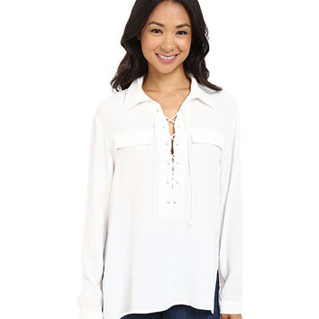 Brigitte Bailey Lydia Long Sleeve Lace-Up Top