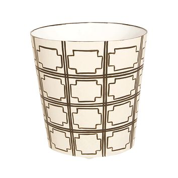 Worlds Away Oval Wastebasket Brown and Cream